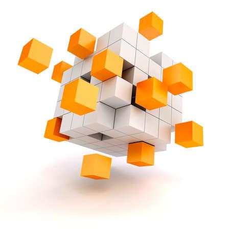 흰색 배경에 3D 추상 큐브