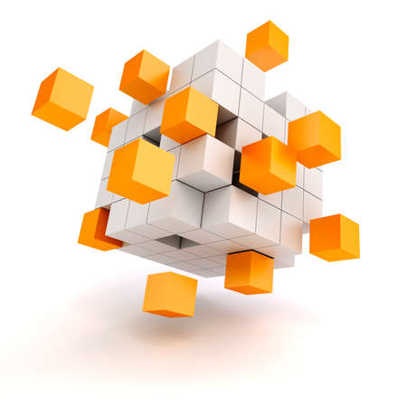 3d abstract cubes on white background photo