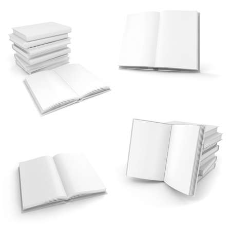 3d book with blank pages on white  Stock Photo