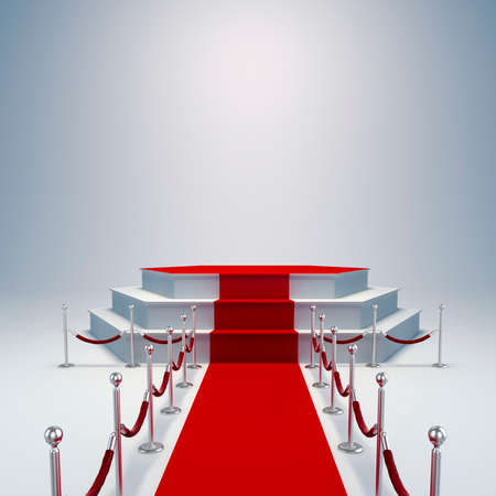 stage lights: 3d podium and red carpet