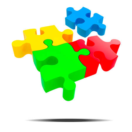 3d colorful puzzle piece on white background photo