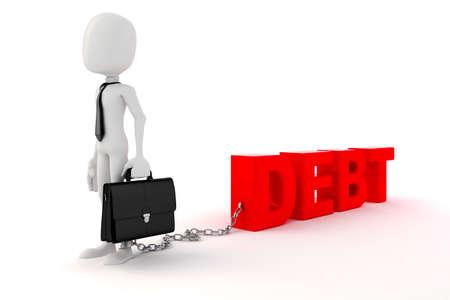 debt management: 3d man businessman business concept Stock Photo