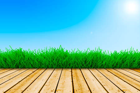 background with fresh green grass, wood floor and blue sky photo