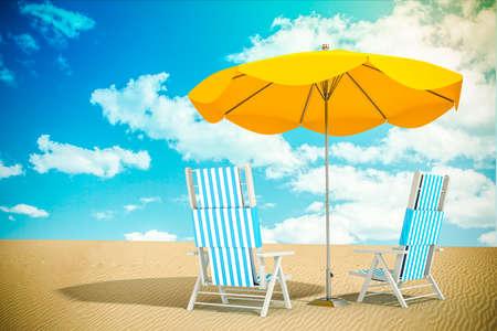 yellow umbrella: Sun loungers and umbrella