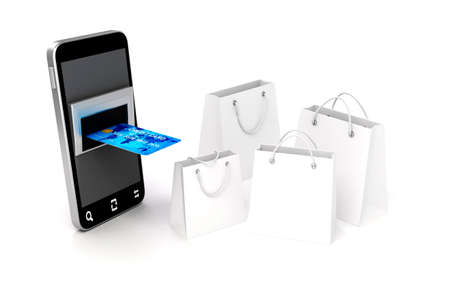 3d mobile phone and credit card, online shopping concept photo