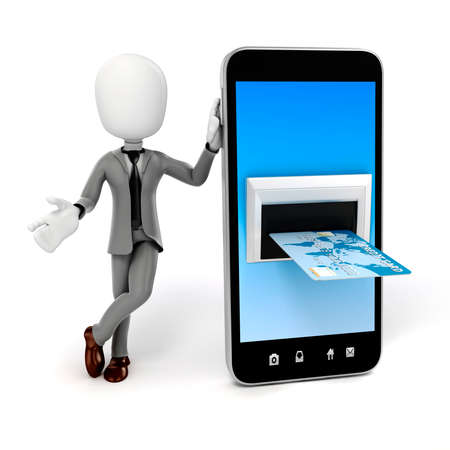 3d man, smart phone and credit card, online commerce concept photo