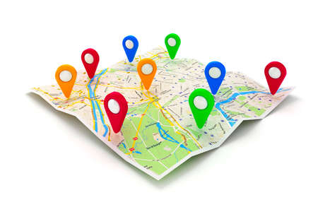 route map: 3d travel and navigation planning, concept Stock Photo