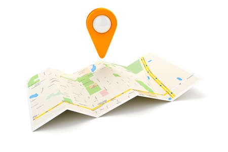 folded paper: 3d travel and navigation planning, concept Stock Photo