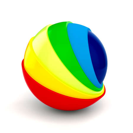 3d art: 3d colorful sphere on white background
