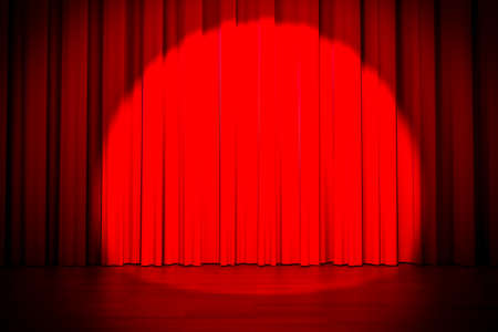 spot lit: 3d red curtain lit by spot light
