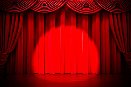 comedy show: 3d red curtain lit by spot light