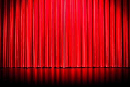 spot lit: 3d red curtain lit by spot light