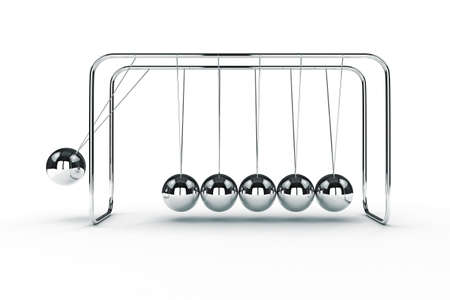 3d image render of newtons cradle on white background