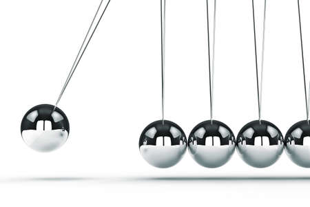 cradle: 3d image render of newtons cradle on white background