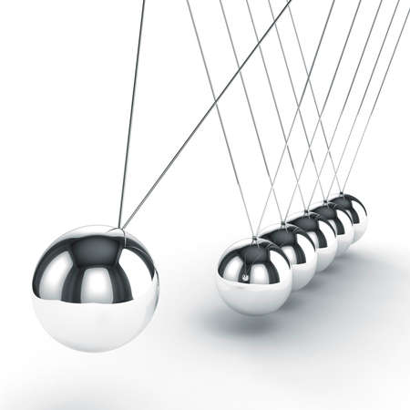 newton cradle: 3d image render of newtons cradle on white background