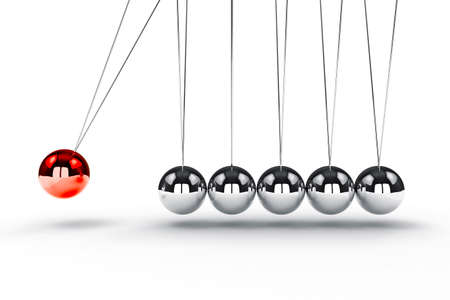3d image render of newton's cradle on white background 스톡 콘텐츠