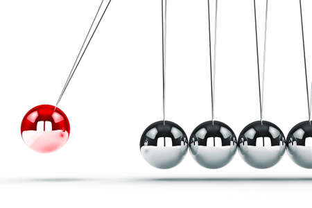 newton's cradle: 3d image render of newtons cradle on white background
