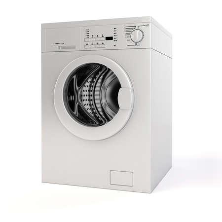 lavadora con ropa: Lavadora 3D sobre fondo blanco