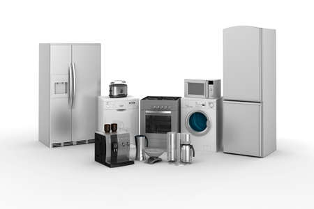 3d render of household appliances on white background Stock Photo