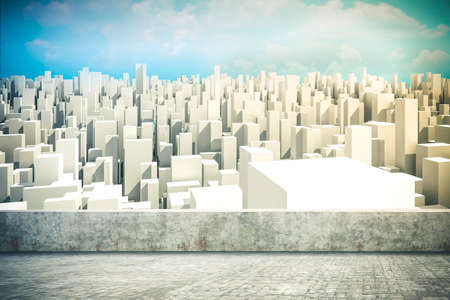 3d render of city skyline and blue sky