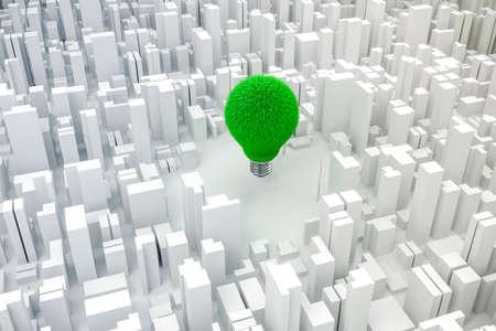 green light bulb: 3d image of light bulb and city, green energy  concept