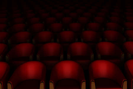 3d red cinema chairs photo