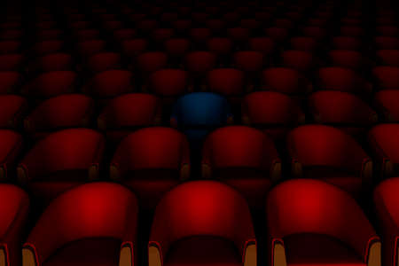 bluer: 3d red and one bluer cinema chairs Stock Photo