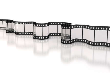 film tape: 3d film strip on white background Stock Photo