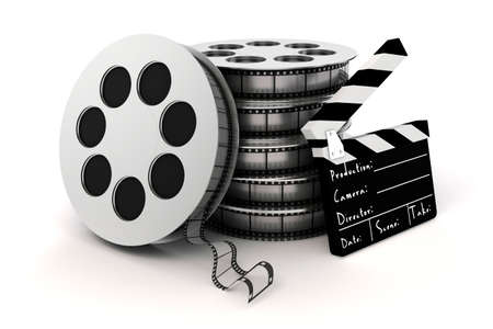 3d clapper board and film roll on white background photo