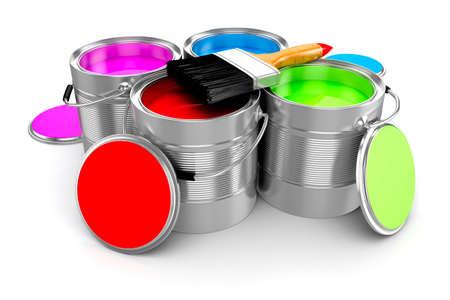 3d render barevné nátěru kbelík na bílé pozadí