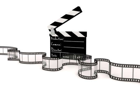 movie film reel: 3d clapper board and film strip on white background Stock Photo