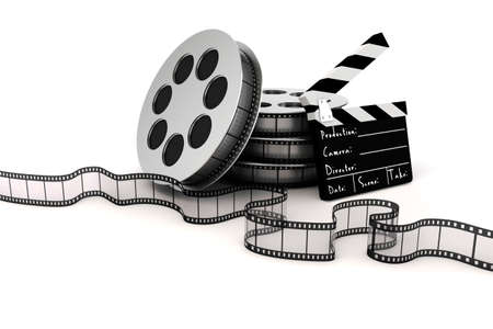 movie clapper: 3d clapper board and film roll on white background Stock Photo