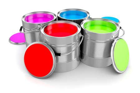 3D render van kleurrijke verf emmer op een witte achtergrond