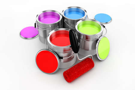 3d render of colorful paint bucket on white background photo