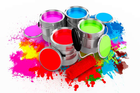 Rendu 3d de peinture colorée sur fond blanc seau