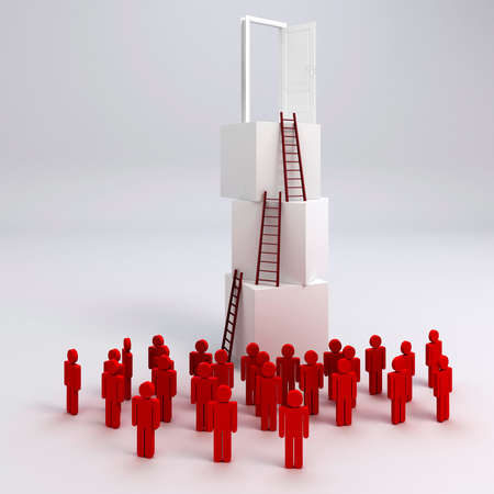 succes: 3d crowd man and  stack of boxes, success in business concept