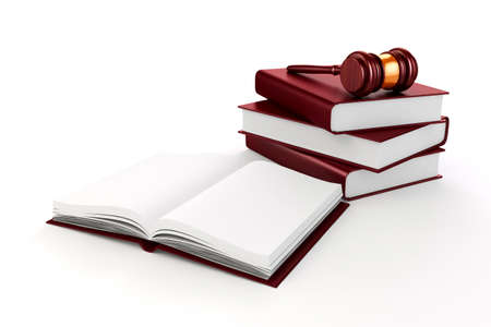 3d gavel and book on white background photo