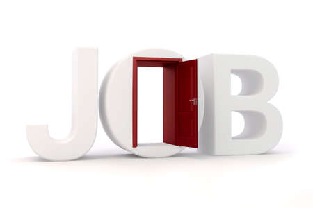 executive search: 3d job text and door, on white background
