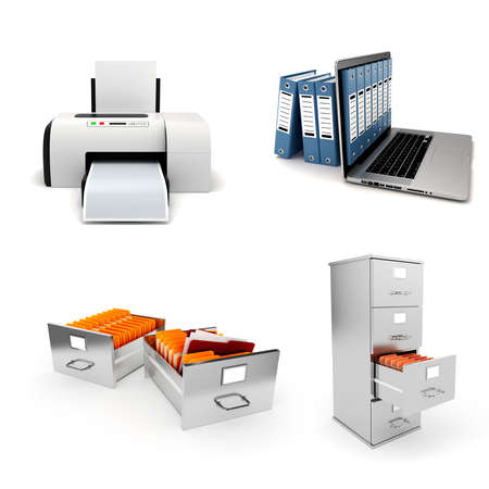 3d office elements set, on white background photo
