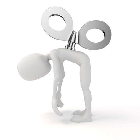automatic: 3d man with a big key on the back, efficiency in business concept