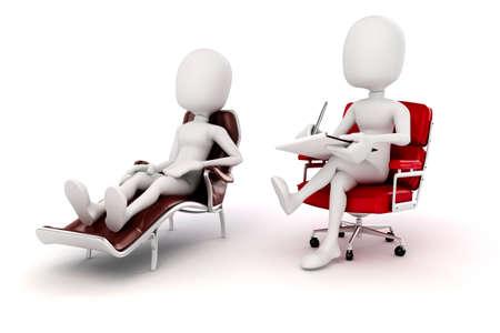 3d man psychologist and patient  Stock Photo