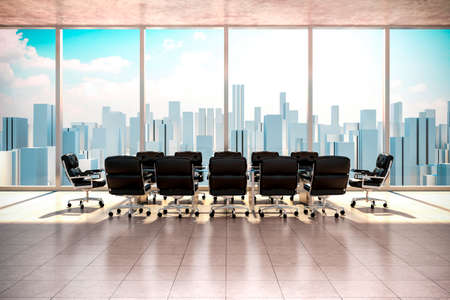 modern office: modern office interior with beautiful worm daylight and city skyline in the background Stock Photo