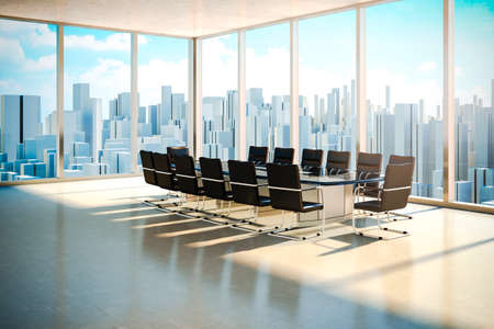 moderne kantoor interieur met prachtige worm daglicht en de skyline van de stad op de achtergrond Stockfoto