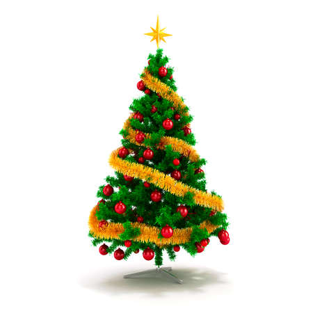 3d beautiful Christmas tree with ornaments on white background photo