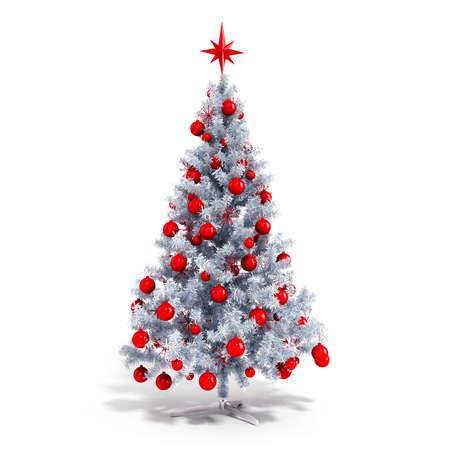 白い背景の上の装飾品で 3 d の美しいクリスマス ツリー