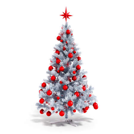 christmas red: 3d beautiful Christmas tree with ornaments on white background