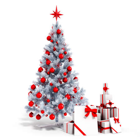 christmas concept: 3d Christmas tree with colorful ornaments and present boxes