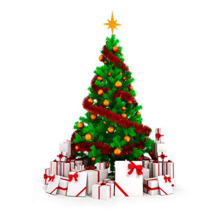 3d Christmas tree with colorful ornaments and present boxes photo