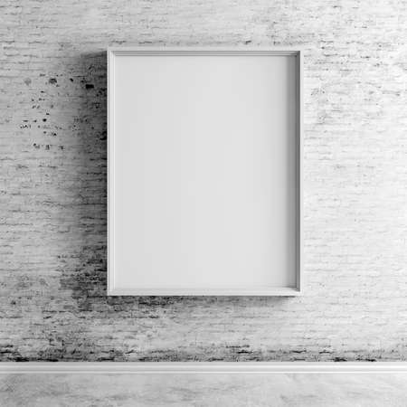 3d blank frame on white vintage brick wall Stockfoto