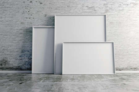 3d blank frames on white vintage brick wall photo